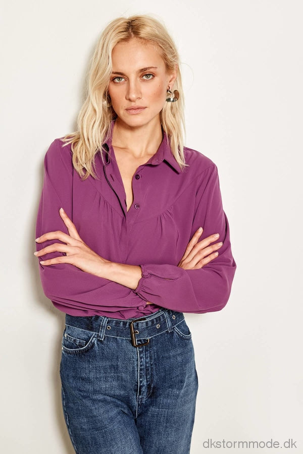 Detailed Purple Ruffles Shirt Tofaw19Xv0002