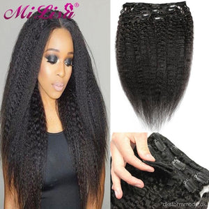 Extensions Brazilian Remy Kinky Straight Hair With Clips - Human 8 Pieces/set Full Head Style