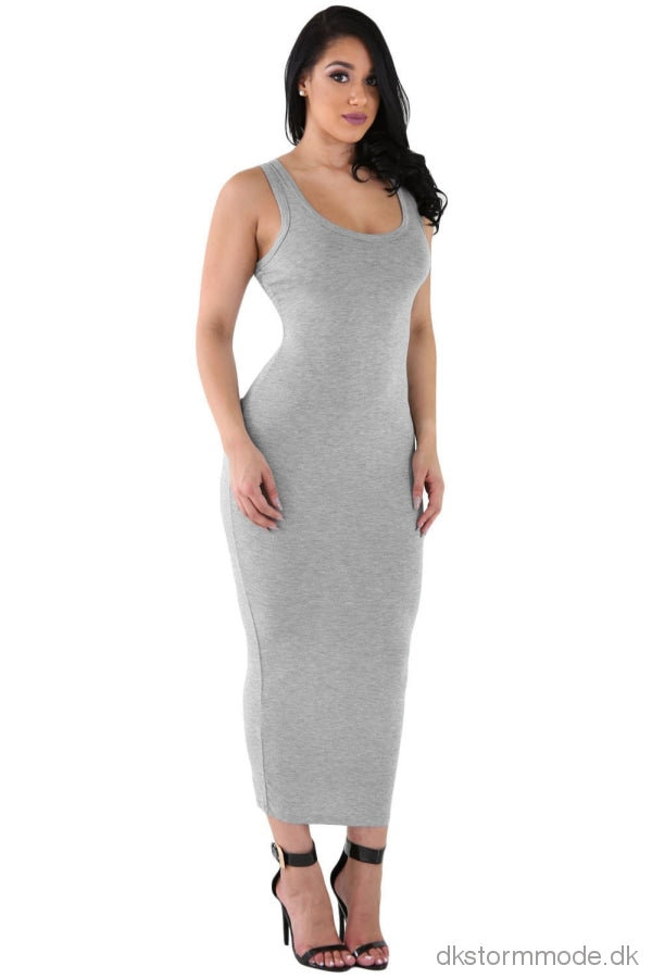 Gray Stretchy Fit Long Sundress S / As Shown