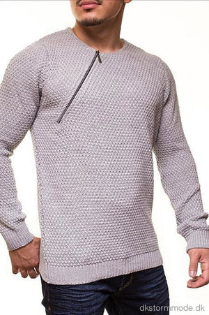 Male Long Sweater Crsm - Light Gray 9501-1 Sweaters