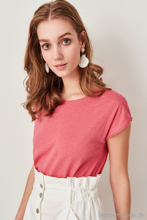 Pink Neck Knitted Crop T-Shirts Twoss19Rg0003