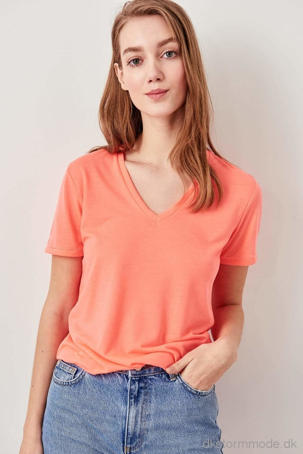 Pink Neon V-Neck Knitted T-Shirts Twoss19Yn0108
