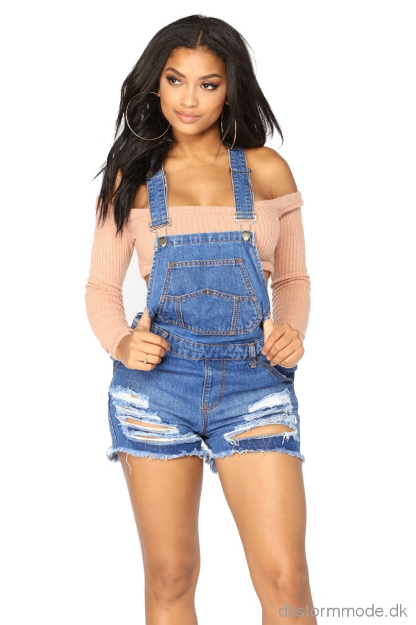 Raw Hem Ripped Denim Short Overall Jeans