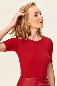 Red Basic Camisole Knitted T-Shirts Tclaw19Fv0106