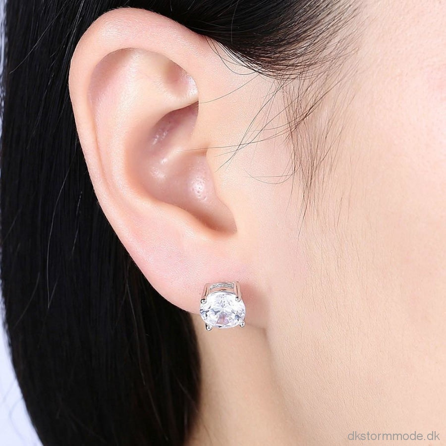 S925 Pure Silver Ear Earrings Fashion Trend Ladies Inlaid Stud