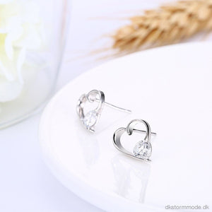 S925 Pure Silver Ear Earrings Fashion Trend Stone Heart-Shaped Studs