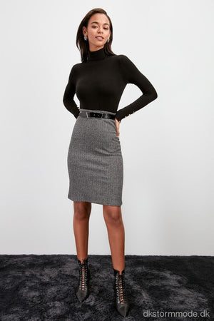 Textured Waist Knitted Skirt |Dstwoaw20Et0572 Gri / L