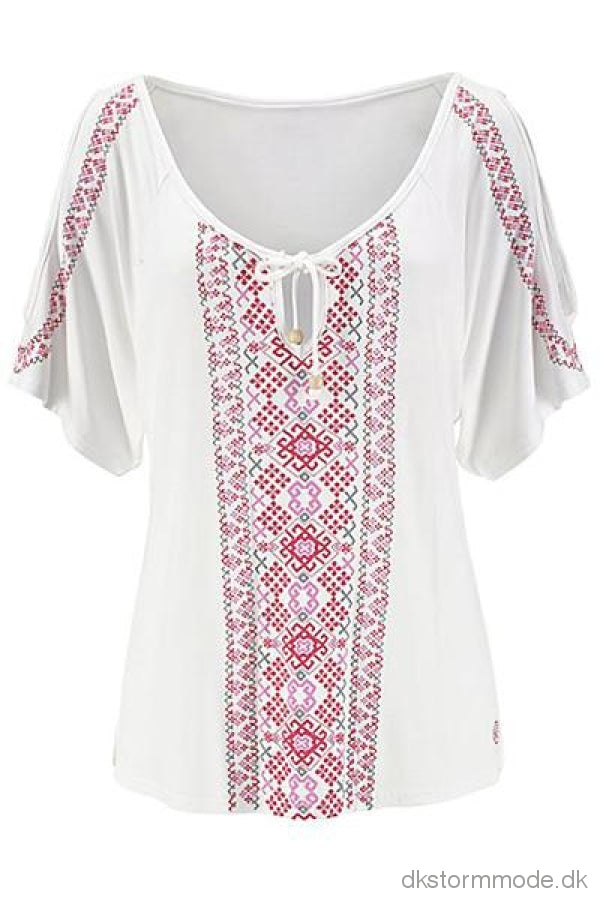 White Cold Shoulder Printed Top Tops & Tees