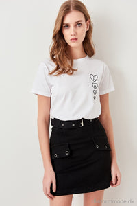 White Embroidered Knitted T-Shirts Twoss19Ad0067