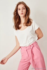 White Neck Knitted Crop T-Shirts Twoss19Rg0003