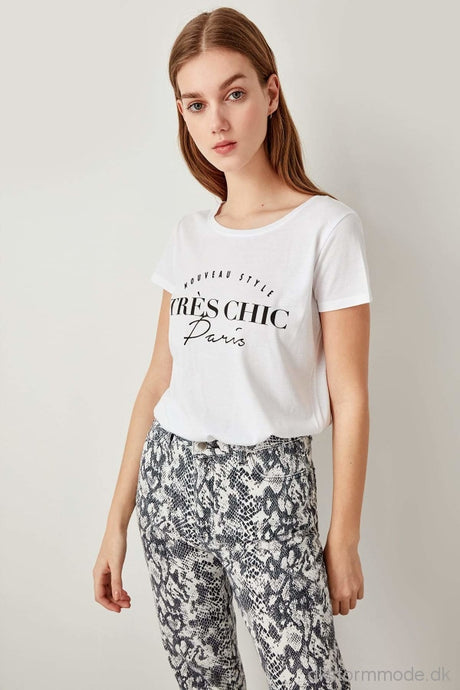 White Printed Knitted T-Shirts Tclss19Yn0031