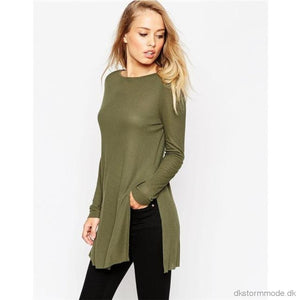 Women Blouse Knitting Long Clothing Length Fashion Loose Pullover Shirt Sleeve Army Green Tops #lsiw