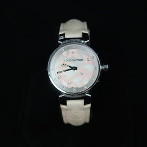 Louis Vuitton - Tambour Watch with Stunning Dial that Combines Diamonds and Pink Flowers - with Cream Leather Band