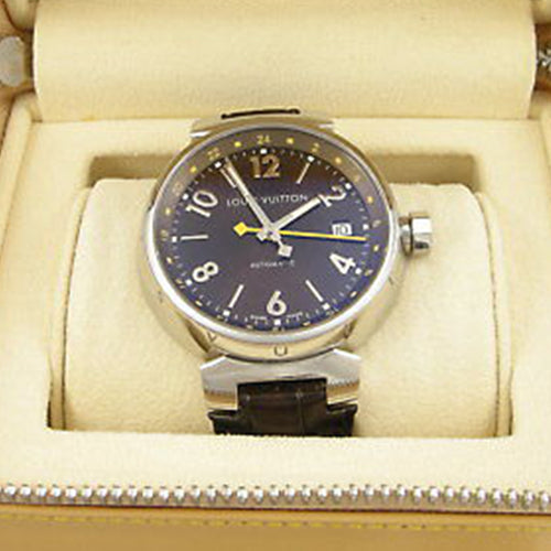 Louis Vuitton - Tambour GMT with Brown Dial and Dark Brown Leather Band and Deployant Clasp and Original Box