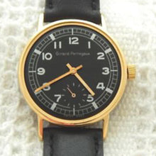 Circa 1950s Girard Perregaux 34mm Black Dial Silver Numbers Gold Plated Case