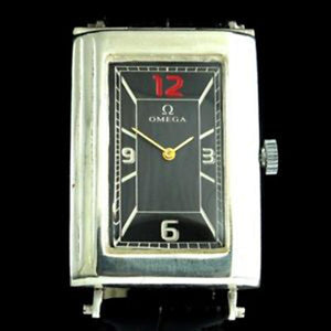 Omega - Circa 1960 Vertical Rectangle Art Deco Silver Swiss Wristwatch