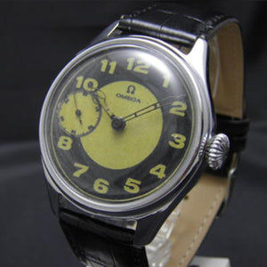 Omega - Incredibly Unique Black and Yellow Signed Movement Circa 1910 with a New Chrome Plated Case