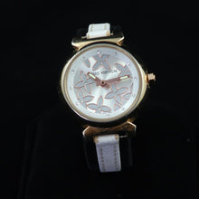 Louis Vuitton - Tambour with Exquisite Rose Gold and White Flower Design on the Dial - Diamond Hour Markers - Gold Case with Thin White Leather Band