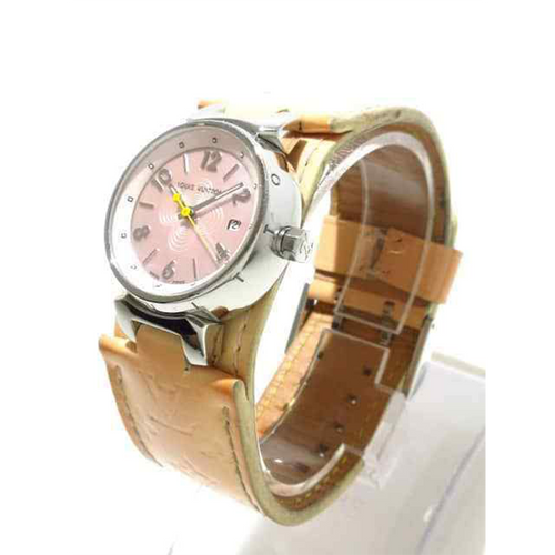 Louis Vuitton - Louis Vuitton Tambour Q1216 Beige Pink Leather Steel Womens Wrist Watch