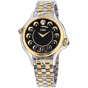 Crazy Carats Rolling Gemstones Two Tone Black Dial Ladies Watch