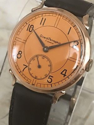 "Girard Perregaux 1950's Unusual Orange Dial Men""s Watch 18K Solid Rose Gold"