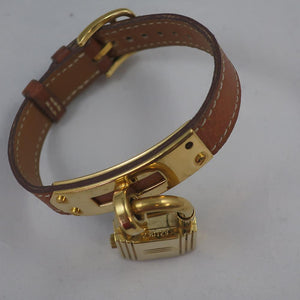 The Famous Hermès Kelly Watch - Brown Leather & Gold