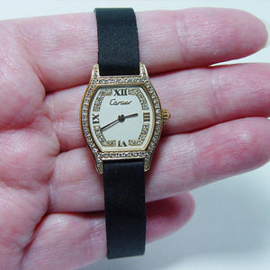Cartier Circa 1970 Solid Gold Diamond Encrusted Ladies Watch