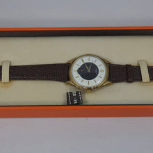 Stunning Vintage Hermes Paris - Swiss Made Hand Winding Watch - Two Tone Dial - Black & White with a Gold Case