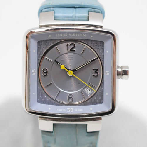 Louis Vuitton Speedy - Tambour Ladies Watch with Stunning Dial and Light Blue Crocodile Band