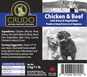 Beef, Chicken with Bone & Vegetables label - Modern Kibble