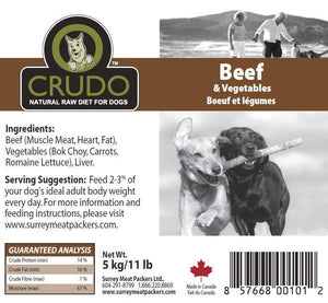 Crudo Beef & Vegetables Raw Dog label - Modern Kibble