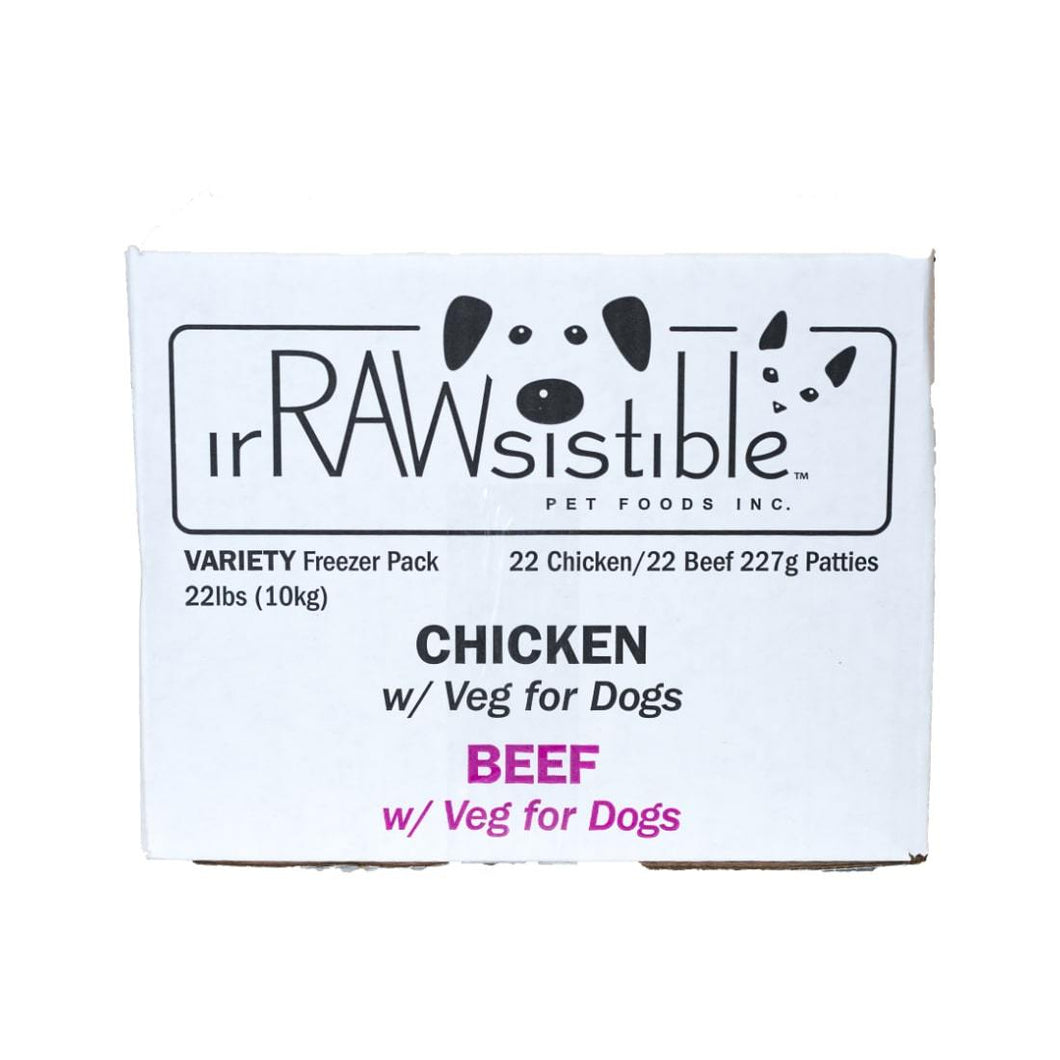 Irrawsistible Variety Patties for Dogs (Beef & Chicken 10kg Freezer Pack Box)