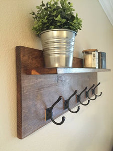 Modern Walnut Stained Pine Shelf