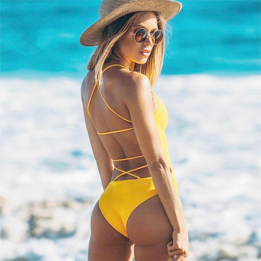 Banage Yellow Backless Brazilian Swimwear