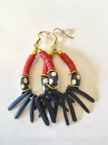 Earrings | Black & Red