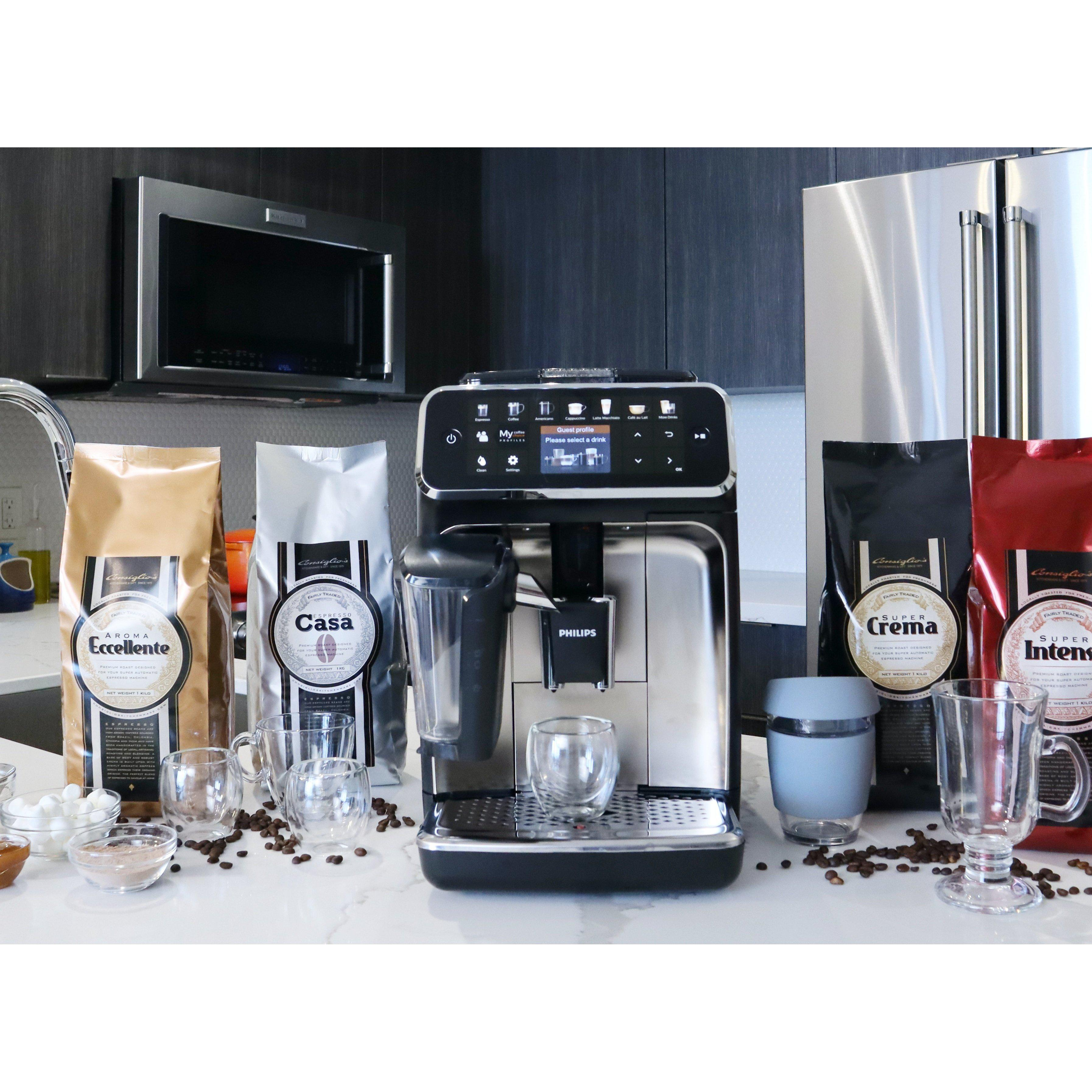 Philips Saeco 5400 LatteGo Fully Automatic Espresso Machine  Front View With Espresso Beans