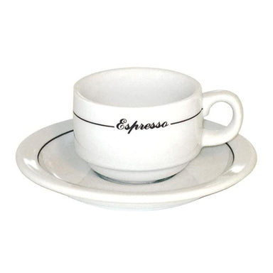 Armand Lebel 12 Piece Espresso Cup & Saucer Set - Short White w/ Line Design