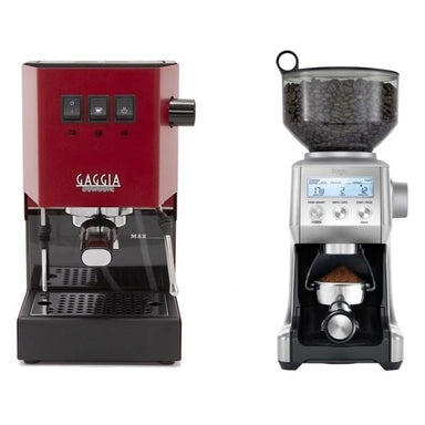 Gaggia Classic Pro Red and Breville Grinder Combo
