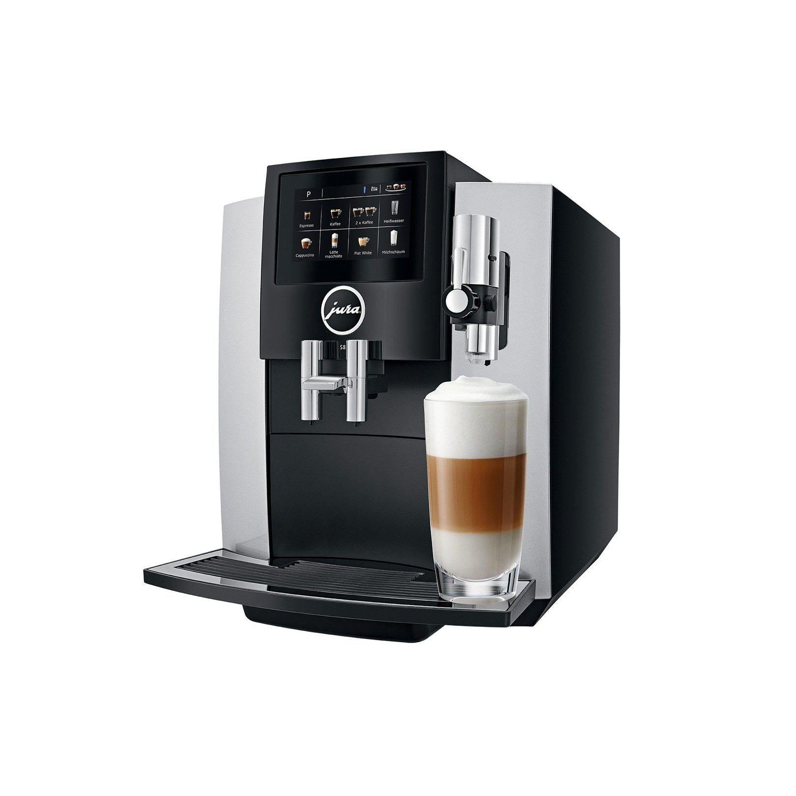 Jura S8 Moonlight Silver Espresso Machine Side View Canada