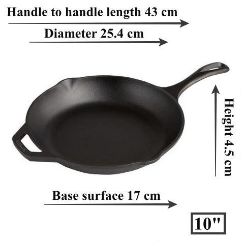 "Lodge - Chef Collection 10"" Pre-Seasoned Cast Iron Skillet (26 cm) Dimensions"