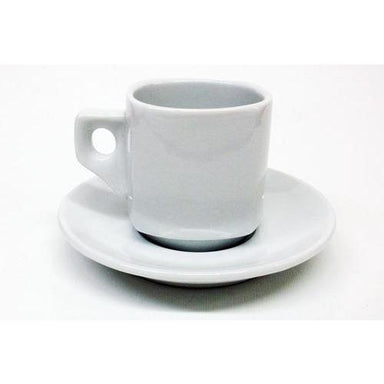 Armand Lebel Cappuccino 12 Piece Cup & Saucer Set - Plain White Square Shape-Consiglio's Kitchenware
