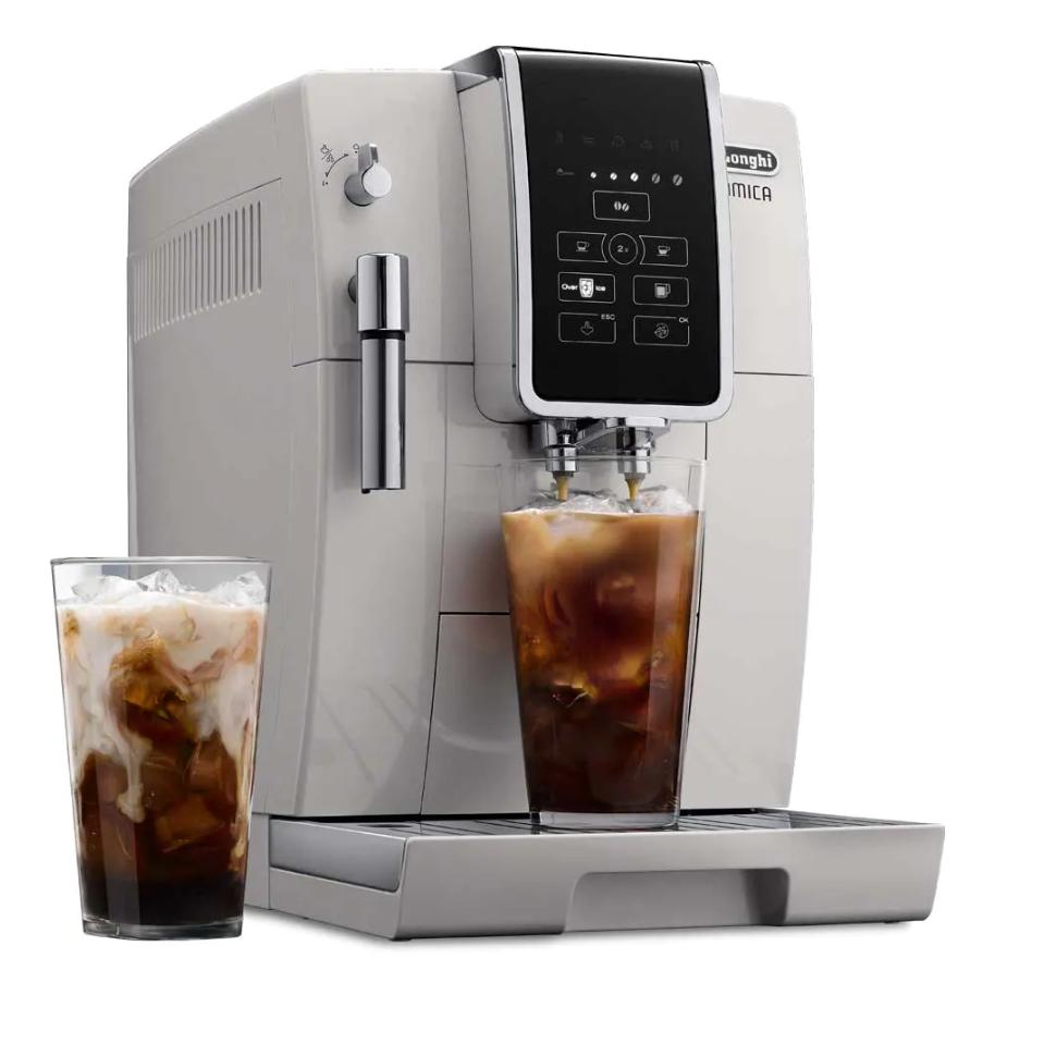 DeLonghi ECAM35020W Dinamica TrueBrew Super Automatic Espresso Machine White Iced Coffee