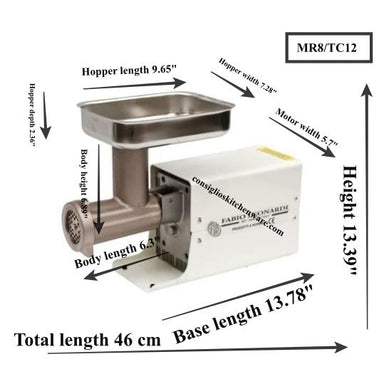 Fabio Leonardi MR8 0.5 HP SP3 Tomato Machine + TC12 Meat Grinder Combo Dimensions Canada