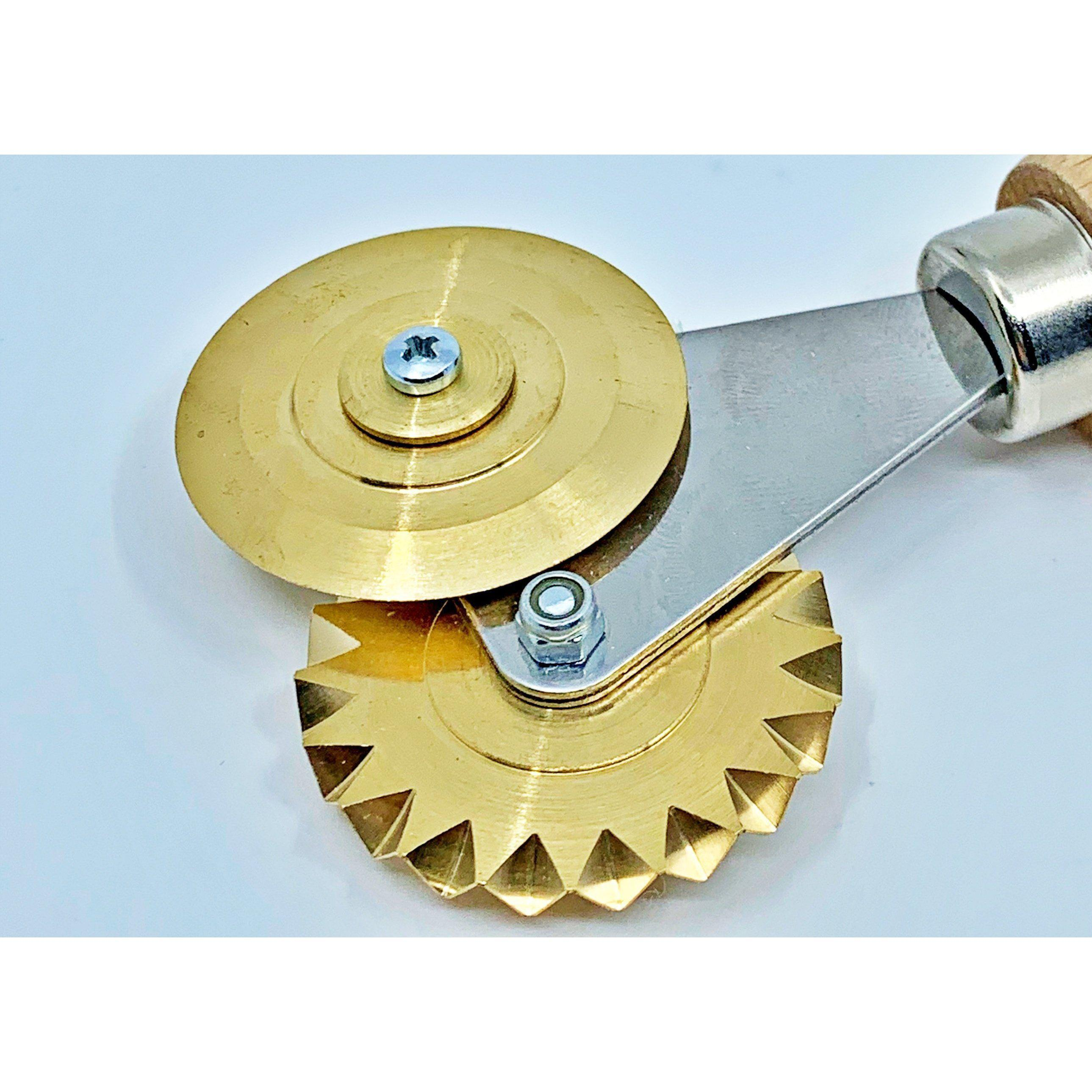 Brass Double Fluted and Smooth Pastry and Pasta Wheel Canada
