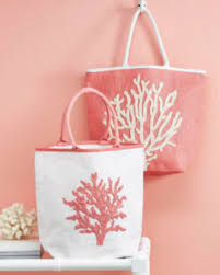 Coral Beaded Tote Bag