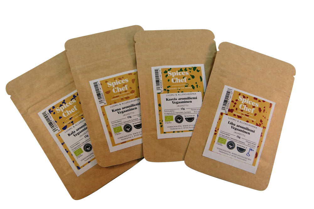 Four 'meat alternative' Vegan bouillon powders | Meat, Fish, Chicken, Veggie | Organic & FreeFrom