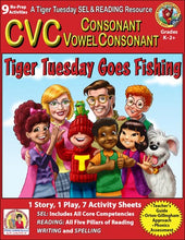 CVC - 9 No Prep Lessons & Activities - Tiger Tuesday Goes Fishing - Digital Download - 6014D