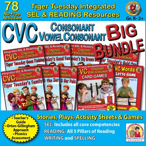 CVC Big Bundle - 78 No Prep Lessons & Activities - Digital Download - 601BD