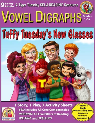 Vowel Digraphs - 9 No Prep Lessons & Activities - When Tuffy Needed Glasses - Digital Download - 6031D