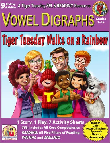 Vowel Digraphs - 9 No Prep Lessons & Activities - Tiger Walks on a Rainbow - Digital Download - 6034D